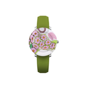 """Yunik Wrist Watch """"Blossom"""" Quartz movement Cases Murano glass dial and case in one piece 36mm Straps Leather green"""