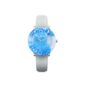 """Yunik Watch """"Blue Sky"""" Quartz movement Cases blue Murano glass dial and case in one piece 36mm Straps Leather white"""