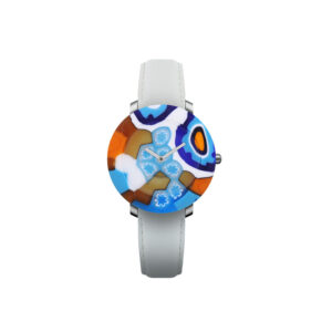 """Yunik Watch """"Tectonic"""" Quartz movement Cases blue Murano glass dial and case in one piece 36mm Straps Leather white"""