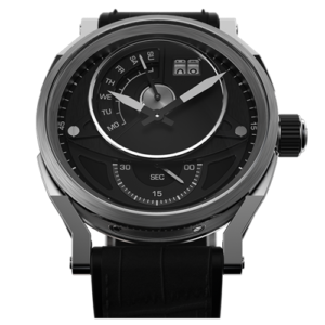 """L&JR Day & Date Collection Stainless Steel Black Dial  Black Printed Alligator"""" Watch"""