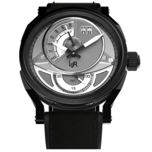 """L&JR Day & Date Collection Stainless Steel & Black PVD White Dial  Grey Calf"""" Watch"""
