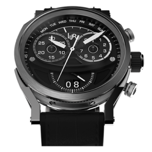 L&JR Chronograph Collection Stainless Steel Black Dial Black Printed Alligator Watch