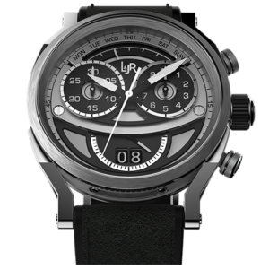 L&JR Chronograph Collection Stainless Steel Bi Coral Dial  Black Calf Watch