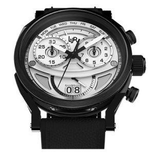 """L&JR Chronograph Collection Stainless Steel & Black PVD White Dial / Grey Calf"""" Watch"""