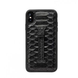 Gold Black Iphone XS Max Case with Finger Holder - Python Deep Black
