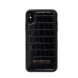 Gold Black Iphone XS Max Case - Croco Black