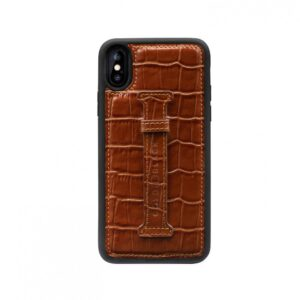 Gold Black Iphone XS Case with Finger Holder