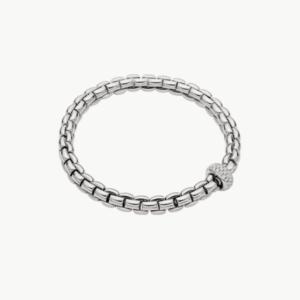 Fope Flex'it bracelet with diamond pave' EKA - White Gold, Small