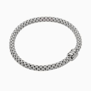Fope Flex'it bracelet with diamonds SOLO - White Gold, Small