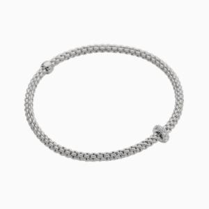 Fope Flex'it bracelet with diamonds PRIMA - White Gold, Small
