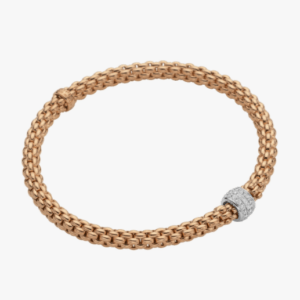 Fope Flex'it bracelet with diamond pave' SOLO - Rose Gold, Small