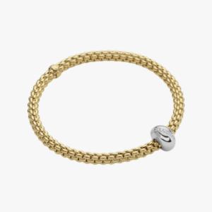 Fope Flex'it bracelet with diamonds SOLO - Yellow Gold, Small
