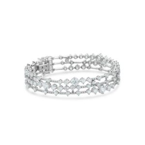 De Beers Wedding day jewellery Arpeggia three line bracelet in white gold