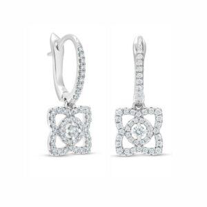 De Beers Wedding day jewellery Enchanted Lotus sleepers in white gold