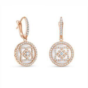 De Beers Wedding day jewellery Enchanted Lotus sleepers in rose gold and mother-of-pearl