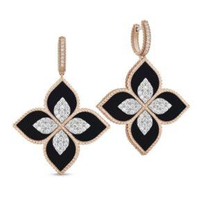 Roberto Coin Earrings | Black Jade | Princess Flower