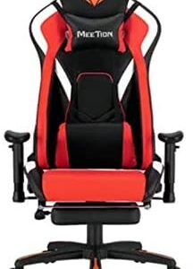 MEETION Leather Reclining Gaming E-Sport Chair with Footrest CHR22 RED King sized chair