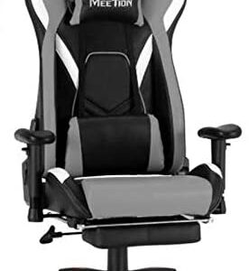 MEETION 180 degrees Leather Reclining Gaming Chair with Footrest CHR22