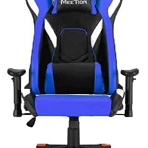 MEETION Leather Reclining Gaming E-Sport Chair with Footrest CHR22 blue King sized chair