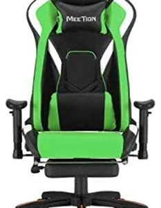 MEETION Leather Reclining Gaming E-Sport Chair with Footrest CHR22 GREEN