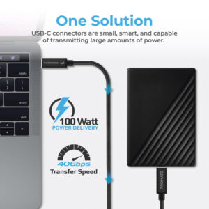 Promate 100W USB- C Power Delivery Cable, Powerful Type-C Thunderbolt 3 Charging Cable with Ultra HD 5K Display Support, 40Gbps Data Speed and Over-Current Protection for MacBook Pro, Galaxy S21, iPad Pro, ThunderLink-C40