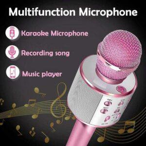 Wireless Bluetooth Karaoke Microphone Handheld USB KTV Player MIC Speaker WS-858 - Dark Pink