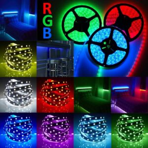 LED STRIP 5050 RGB LED Tape, Multi-Colors, 300 LEDs, Non-Waterproof, Light Strips, Color Changing, Pack of 16.4ft/5m Strips